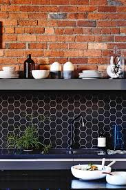 exposed brick black hexagon tile splashback kitchen mar15