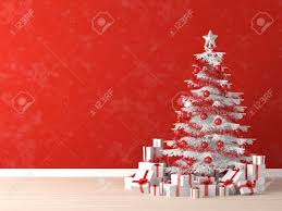 white and red christmas tree decorated with many presents on