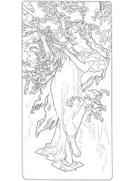 spring by alphonse mucha painting coloring page art u0026 culture