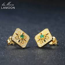 womens stud earrings lamoon jewelry womens stud earring s925 carved hollow 0 06ct