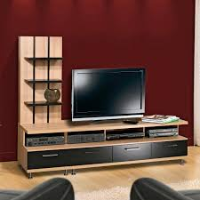 Led Tv Table 2015 Long Black Wooden Tv Stand With Many Shelves Placed On The Brown