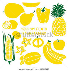 mixed fruits vegetables color background yellow stock vector