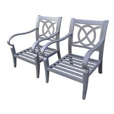 Allen And Roth Patio Chairs Lowe S Allen Roth Set Of 2 Newstead Grey Textured Aluminum Slat