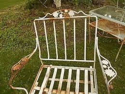 Wrought Iron Patio Furniture Vintage Vintage Woodard Wrought Iron Patio Set 2 Chairs Table Rocker