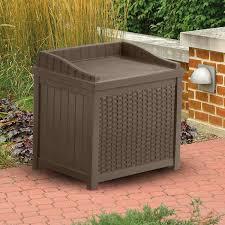 Suncast 50 Gallon Patio Bench by Suncast 22 Gallon Java Resin Wicker Small Storage Seat Deck Box