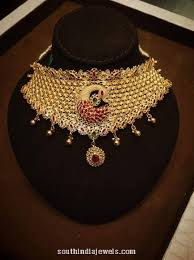 chokers necklace gold images Gold ruby choker necklace south india jewels jpg