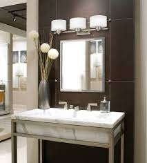 elegant bathroom with brushed nickel square mirror and white