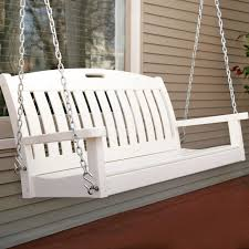 furniture rustic white wooden porch swings with brown cushion