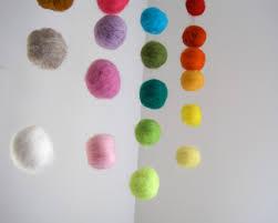 baby mobile giant felted rainbow balls wool nursery room