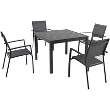 square outdoor dining table hanover naples 5 piece aluminum square outdoor dining set
