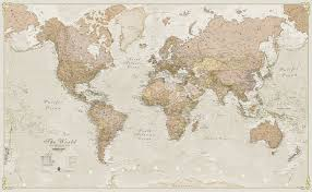 Mc Maps World Antique Style Laminated Wall Map Maps International For