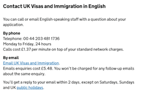 uk visa and immigration to charge just to email them points to