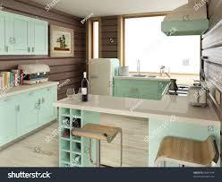 american retro kitchen home interior design stock illustration
