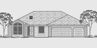 house plans one level ranch house plan 3 car garage basement storage