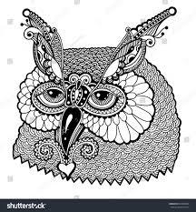 black white owl head graphic vector stock vector 269652098