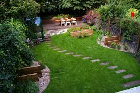 backyard garden landscaping house design with green grass footpath
