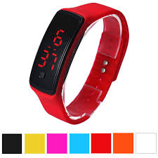 digital bracelet led watches images Fashion men candy silicone strap touch square dial digital jpg