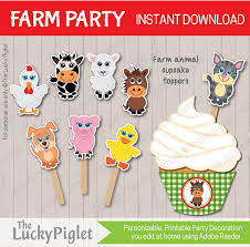 farm cake toppers farm cupcake toppers cake toppers farm animal cupcake toppers