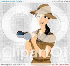 safari binoculars clipart clipart of a happy young safari woman holding binoculars royalty