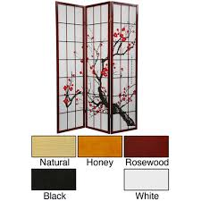 handmade wood and rice paper flower blossom 3 panel room divider