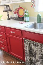 red kitchen cabinets with black glaze kitchen decoration