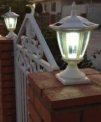solar powered pillar lights solar powered light with post cap base hexagon