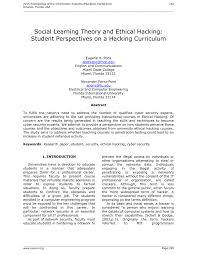 Social Security Research Paper Social Learning Theory And Ethical Hacking Student Perspectives