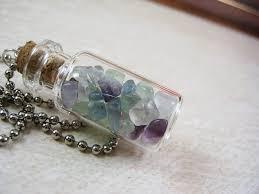 glass bottle necklace pendant images Fluorite gemstone chips 2ml glass vial glass bottle pendant jpg