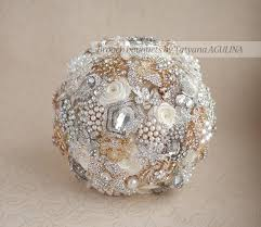 Quinceanera Bouquets Brooch Bouquet Ivory Gold And Silver Brooch Bouquet Bridal