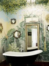 unique bathroom with wall murals and mirrors also black clawfoot unique bathroom with wall murals and mirrors also black clawfoot tub