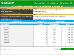 Packing List Template Excel Packing List Template Shipping Dotxes