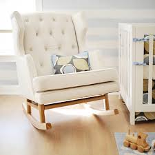 Small Rocking Chair For Nursery White Color Modern Tufted Nursery Rocker For Small Room Spaces