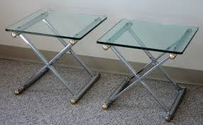X Base Side Table Pair Campaign Style X Base End Tables Julesmoderne Com