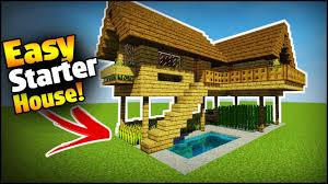 minecraft starter survival house tutorial how to build an easy