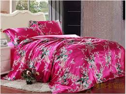 Peacock Feather Comforter Set Peacock Feather Print Pink Silk Bedding Set For King Queen