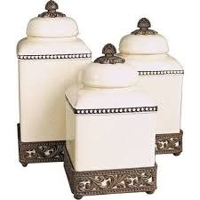ceramic canisters sets for the kitchen gg collection acanthus ceramic kitchen canister sets with metal