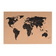 World Map Pins by Present Time Hanging World Map Cork Board Home Accessories