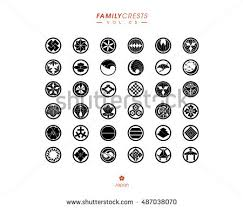 japanese family crests collection vol5 stock vector 487038070