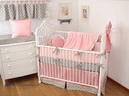 pink and grey crib bedding with coordinating window valance throw