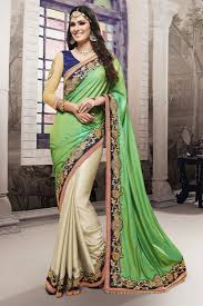 buy designer party wear embroidered satin and chiffon saree in