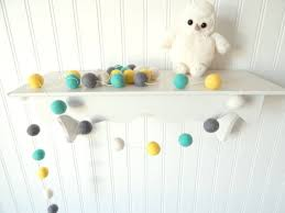 Yellow Gray Nursery Decor Aqua Mint Yellow Gray Nursery Mint Garland Baby Room Decor Felt