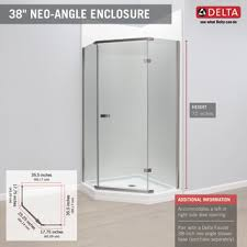 38 Inch Neo Angle Shower Doors 38 Frameless Neo Angle Shower Enclosure 422061 Delta Faucet