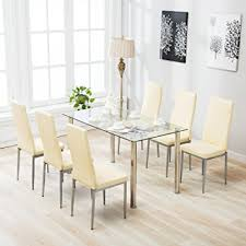 Glass Dining Tables And 6 Chairs Mecor 7 Glass Dining Table Set 6 Leather Chairs