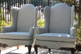 Wing Back Armchairs Accent Pattern Grey Modern Wing Back Armchairs With Queen Anne