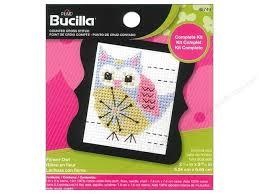 bucilla counted cross stitch kit 2 1 2 in mini flower owl