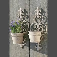 Wall Mounted Flower Pot Holder 2 Wall Mount Flower Pots Grey 13 5 U0026 034 X5 5 U0026 034 X4 5 U0026 034