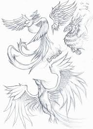 phoenix and clouds tattoos sketch real photo pictures images