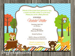 printable woodland baby shower invitation forest animals
