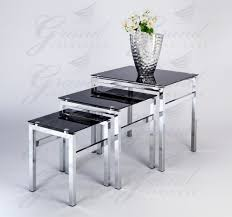 black and glass coffee table elsa modern glass nest of tables black 3 l side coffee table set