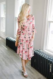 pink floral bell sleeve modest dress best place to buy modest